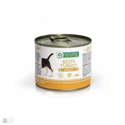 консервы для собак с говядиной и индейкой Nature's Protection Adult Beef & Turkey