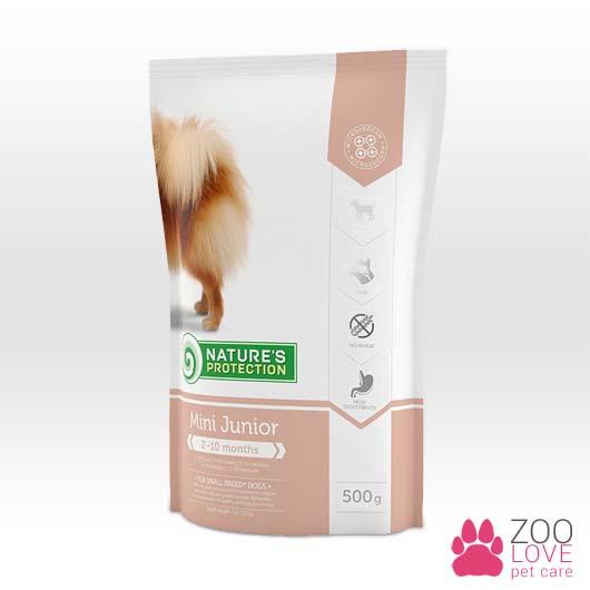 Изображение корма для собак Natures Protection Mini Junior, упаковка 500 грамм