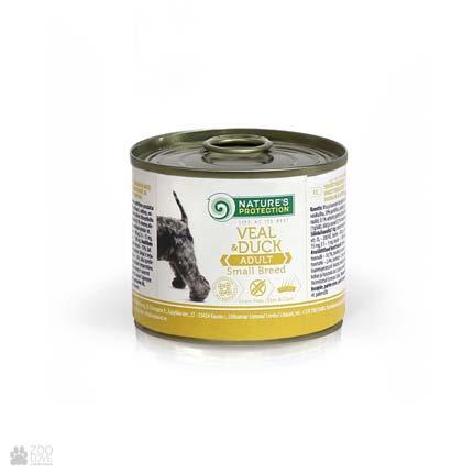 консервы для собак малых пород с телятиной и уткой Nature's Protection Adult Small Breed Veal & Duck