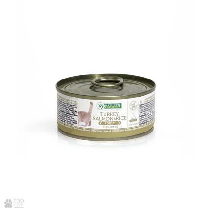 консервы для стерилизованных кошек Nature's Protection Neutered Turkey, Salmon & Rice, 100 г