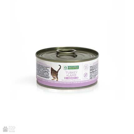 консервы для кошек с чувствительным пищеварением Nature's Protection Sensible Digestion Turkey & Lamb, 100 грамм