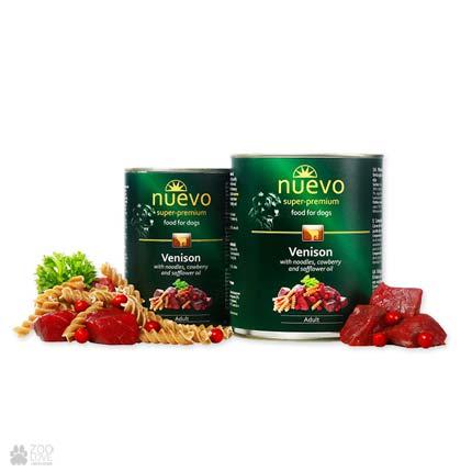 Корм консервированный NUEVO ADULT с олениной, брусникой и сафлоровым маслом, для собак
