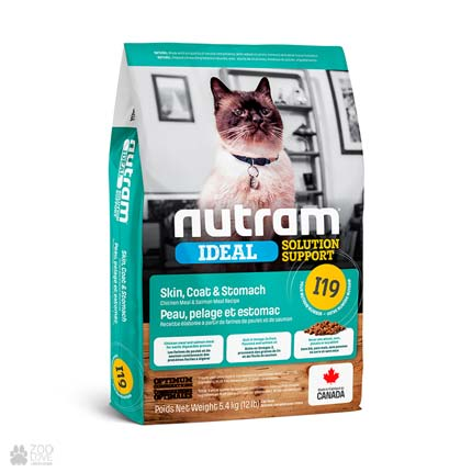 корм для котов с чувствительным пищеварением Nutram Ideal Solution Support Skin Coat Stomach (дизайн с 2020 года)