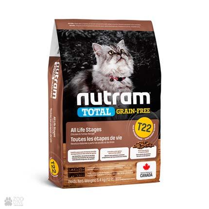 беззерновой корм для котов с индейкой и курицей Nutram Total GF Turkey & Chiken Cat (дизайн с 2020 года)