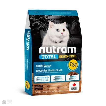 беззерновой корм для котов с лососем и форелью T24 Nutram Total GF Salmon & Trout Cat (дизайн с 2020 года)