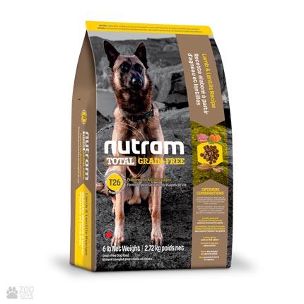 беззлаковый холистик корм для собак с ягненком и бобовыми Nutram Total GF Lamb & Lentils Dog