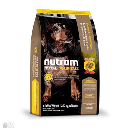 беззлаковый холистик корм для собак малых пород Nutram Total GF MINI Turkey, Chiken & Duck