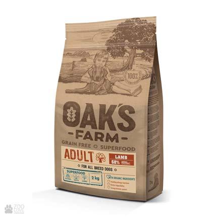 Oak's Farm Adult All Breeds Lamb Grain Free, беззерновой корм для собак всех пород с ягненком