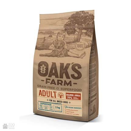 Oak's Farm Adult All Breeds Salmon Grain Free, беззерновой корм для собак всех пород с лососем