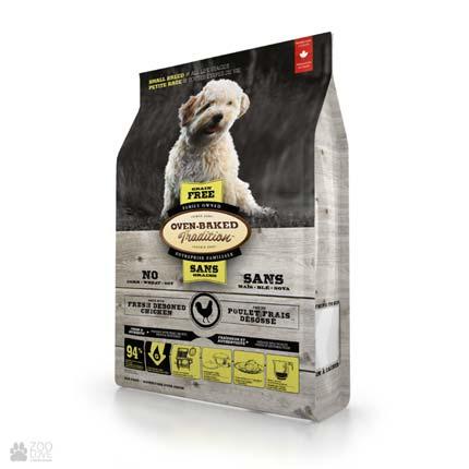 Сухой беззерновой корм для собак малых пород с курицей Oven-Baked Tradition Adult Small Breeds Chicken Grain Free (Оуен Бейкед)