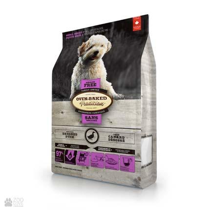 Сухой беззерновой корм для собак малых пород с уткой Oven-Baked Tradition Adult Small Breeds Duck Grain Free (Оуен Бейкед)