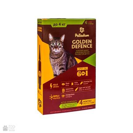 капли от блох и клещей для кошек весом до 4 кг Palladium Golden Defence Spot On
