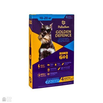 капли от блох и клещей для собак весом от 10 до 20 кг Palladium Golden Defence Spot On