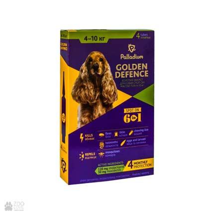 капли от блох и клещей для собак весом от 4 до 10 кг Palladium Golden Defence Spot On