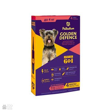 капли от блох и клещей для собак весом до 4 кг Palladium Golden Defence Spot On