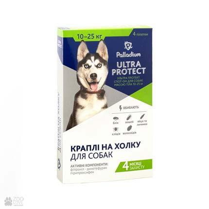 капли от блох и клещей для собак весом 10-25 кг Palladium Ultra Protect Spot On