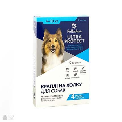 капли от блох и клещей для собак весом 4-10 кг Palladium Ultra Protect Spot On