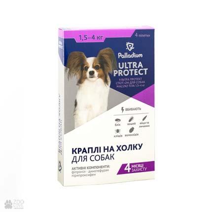 капли от блох и клещей для собак весом от 1,5 до 4 кг Palladium Ultra Protect Spot On
