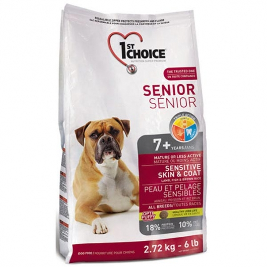 1st Choice Senior Sensitive Skin & Coat Lamb & Fish, корм для пожилых или малоактивных собак
