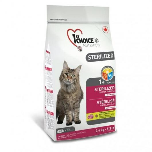 корм для кастрированных котов и стерилизованных кошек 1st Choice Sterilized Chicken