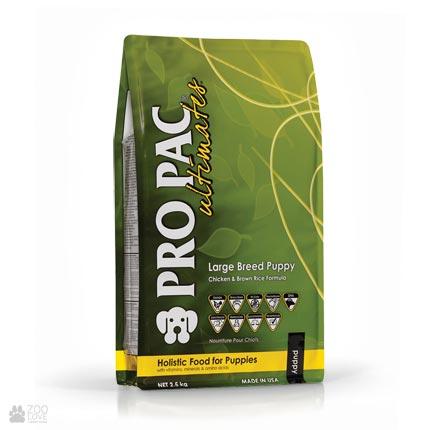 Pro Pac Ultimates Large Breed Puppy Chicken & Brown Rice Formula, корм для щенков крупных пород с курицей и рисом