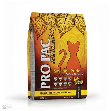 беззерновой холистик корм для кошек Pro Pac Ultimates Savanna Pride Indoor Formula