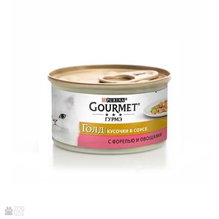 Gourmet Gold консервы для кошек с фореллю, овощами. Кусочки в подливе, 85 грамм