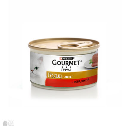 Purina Gourmet Gold, паштет с говядиной, корм для кошек