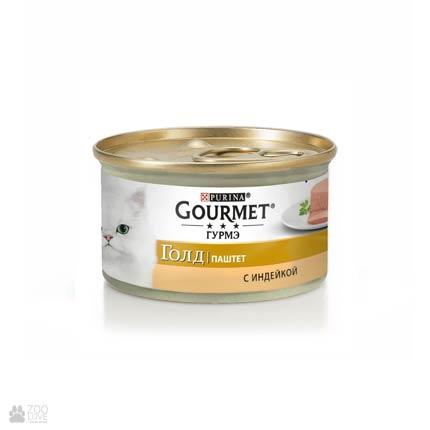 Корм влажный Gourmet Gold для кошек с индейкой, 85 грамм
