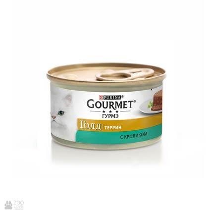 Gourmet Gold консервы для кошек с кроликом. Кусочки в паштете, 85 (старый дизайн)