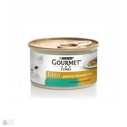 Gourmet Gold консервы для кошек с кролем, печенью. Кусочки в подливе, 85 грамм