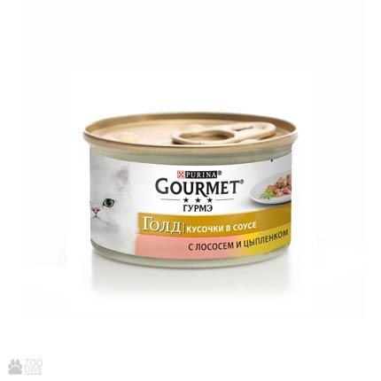 Gourmet Gold консервы для кошек с лососем, курицей. Кусочки в подливе, 85 грамм