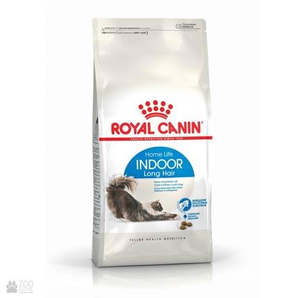 Фото упаковки корма для длинношерстных кошек, живущих в помещении, Royal Canin INDOOR LONGHAIR 400 гр
