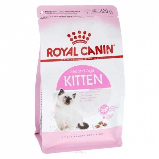 Фото упаковки корма для котят Royal Canin KITTEN 400 грамм