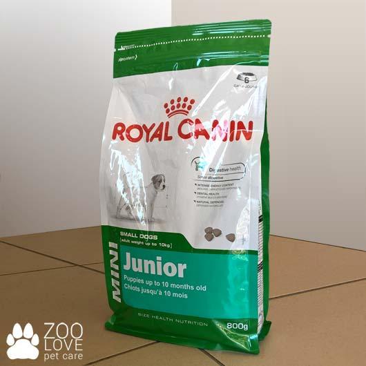 Фото упаковки корма для щенков Royal Canin MINI JUNIOR, 0,8 кг (дизайн до 2018)
