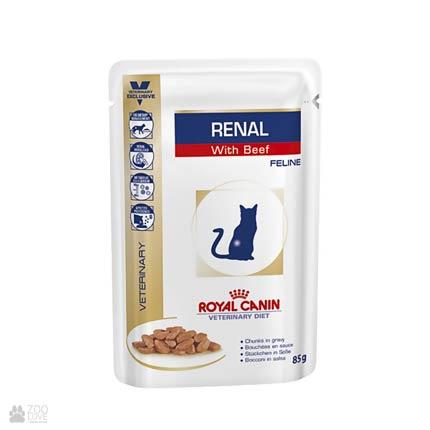 консервы для кошек при болезнях почек Royal Canin Renal with Beef