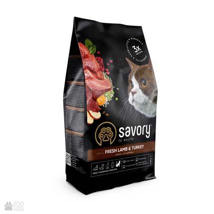 Сухой корм для кошек с чувствительным пищеварением со свежим мясом ягненка и индейки Savory Sensitive Digestion Fresh Lamb & Turkey