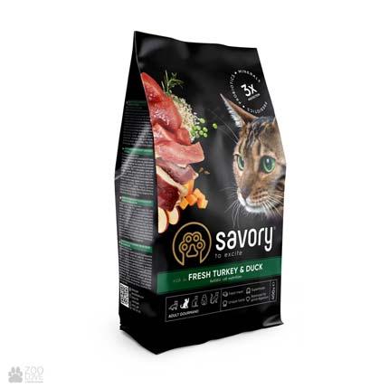 Сухой корм для привередливых кошек со свежим мясом индейки и утки Savory Adult Fresh Turkey & Duck