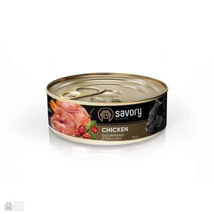Консервы для стерилизованных кошек со свежим мясом ягненка и курицы Savory Gourmand Adult Sterilised Chicken