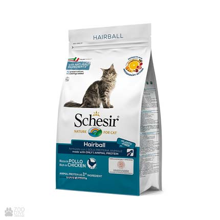 корм для кошек Шезир для выведения шерсти Schesir Cat Hairball Chicken с курицей