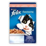 Felix Fantastic, корм для котов, лосось, 100 г.