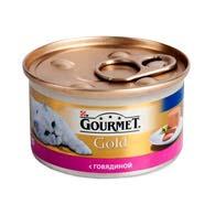 Purina Gourmet Gold с говядиной 85 г, корм для кошек, мусс