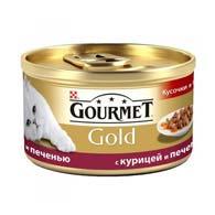 Purina Gourmet Gold с курицей, печенью 85 г, корм для кошек, кусочки в подливе