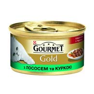 Purina Gourmet Gold с лососем, курицей 85 г, корм для кошек, кусочки в подливе