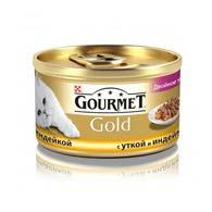 Purina Gourmet Gold с уткой, индюком 85 г, корм для кошек, кусочки в подливе