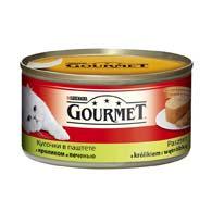 Purina Gourmet с кролем, печенью 195 г, корм для кошек, кусочки в паштете