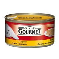 Purina Gourmet с уткой, курицей 195 г, корм для кошек, паштет