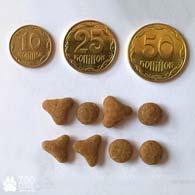 Сравнение сухого корма Royal Canin Savour Exigent с монетами, диаметр