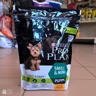 Фотография упаковки сухого корма для щенков малых пород Проплан Purina Pro Plan Puppy Small & Mini, 700 г (2017)