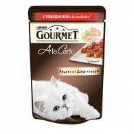 Purina Gourmet A La Carte, кусочки с говядиной, в подливе 85 г, консервы для котов